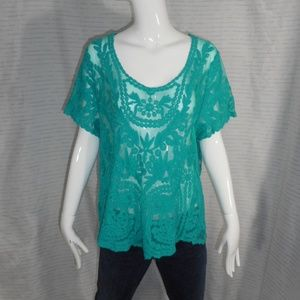 NEW! ~Fever~ Beautiful Teal Lace Sheer Blouse Sz L